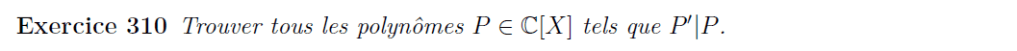 Arithmétique des polynômes