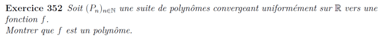 Convergence uniforme de polynôme