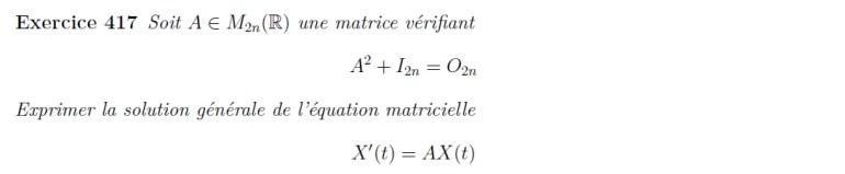 Equation différentielle de matrice