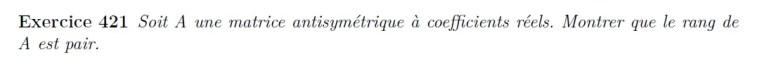 Rang matrice antisymétrique
