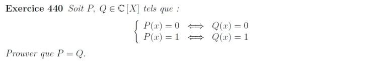 Egalité de polynôme