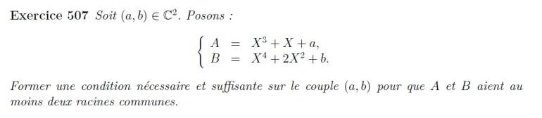 Racines communes entre deux polynômes