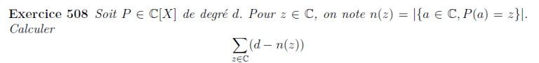 Somme de racines de polynômes