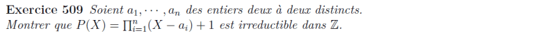 Irréductibilité de polynômes