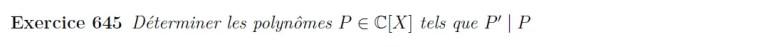 Equation de divisibilité de polynômes