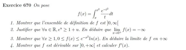 Fonction définie par une intégrale, étude