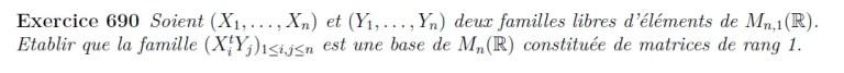 Base de vecteurs de rang 1
