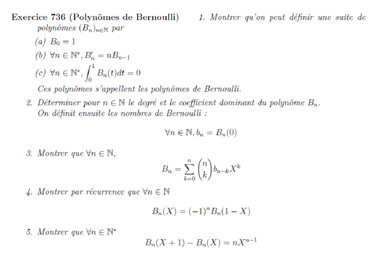 Polynômes de Bernoulli