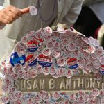 "The grave of women's suffrage leader Susan B. Anthony is covered with ""I Voted"" stickers left by voters in the U.S. presidential election."