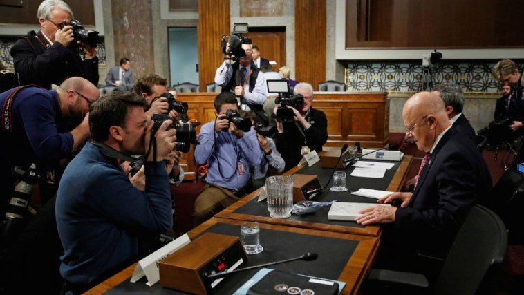 Director of National Intelligence James Clapper Jr. testifies before Senate Committee hearing Russian hacking.