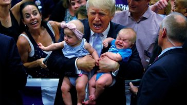 Trump with babies