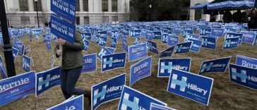 Bernie Sanders and Hillary Clinton campaign lawn signs