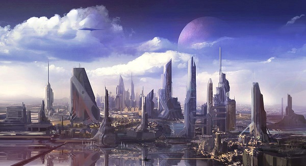 Artwork of a futuristic cityscape on Prog Rock Dock