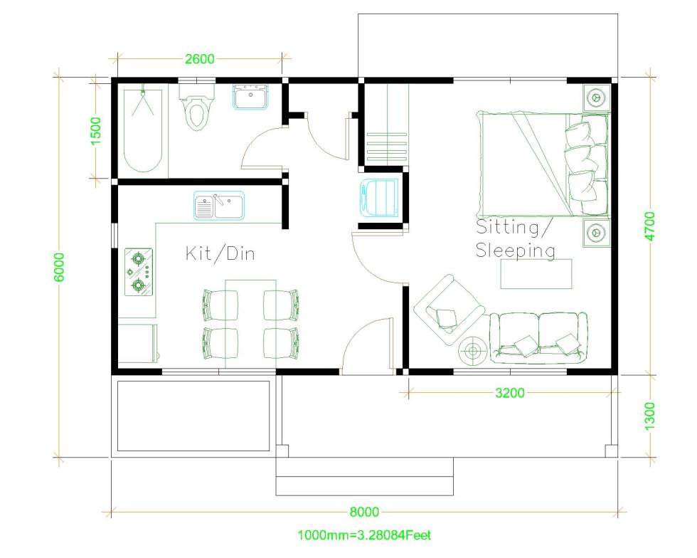 Beautiful Small Houses 8x6 Shed roof Layout plan