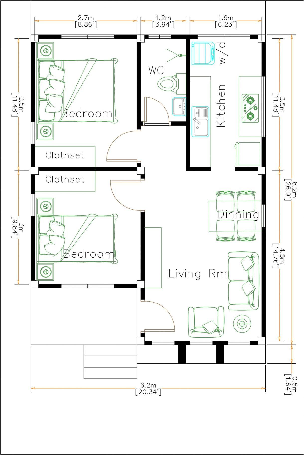 Small House Design 6x8 Meter 20x27 Feet Terrace Roof Layout floor plan