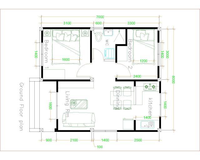 Custom Tiny Homes 6x7 Meter 20x23 Feet 2 Beds floor plan