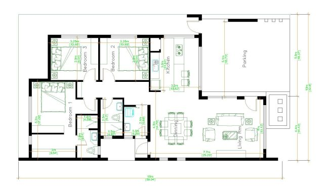 House Design 3d 10x18 Meter 33x59 Feet 3 Bedrooms Terrace Roof floor plan
