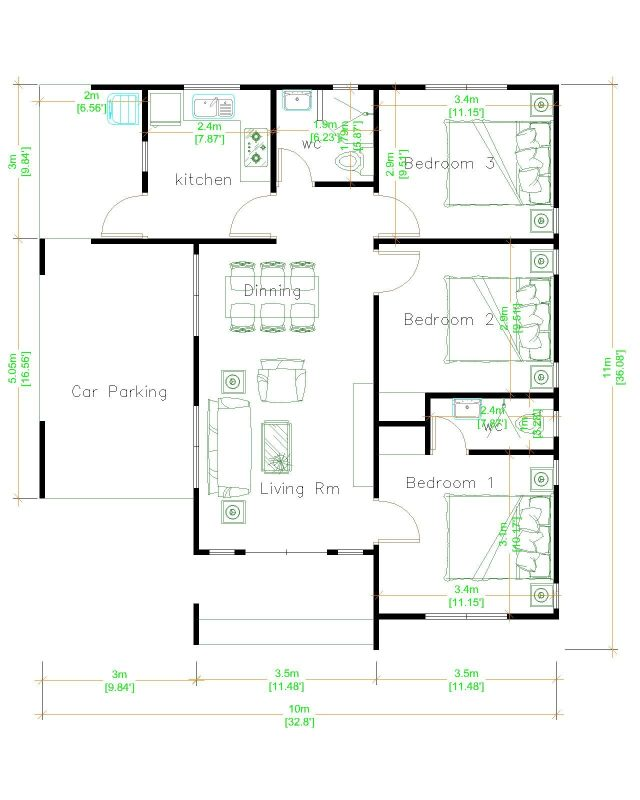 House Layout 10x11 Meter 33x36 Feet 3 Beds Layout floor plan