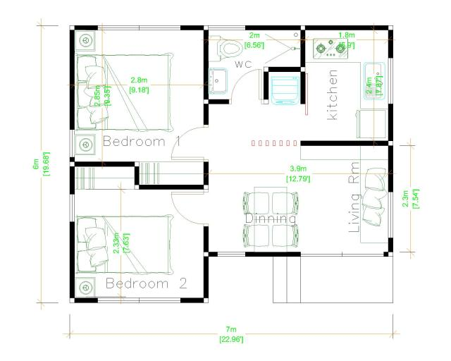 Luxury Tiny House 7x6 Meter 23x20 Feet 2 Beds Layout plan