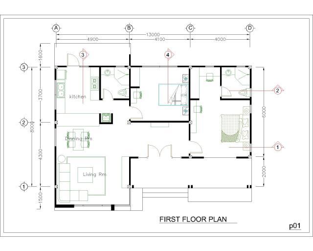 Modern House Floor Plans 13x9.5 Meter 43x31 Feet 2 Beds Layout plan