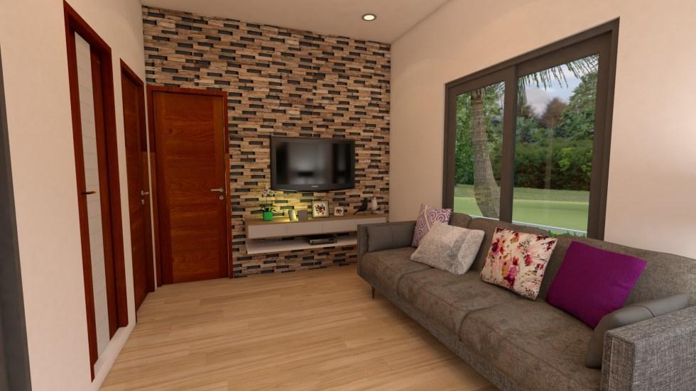 Modern Tiny House 6x8 Meter 20x26 Feet Hip Roof Living room