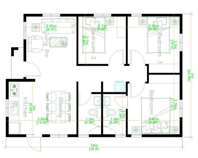 Nice Nmall Houses 7x10 Meter 23x33 Feet 3 Beds floor plan