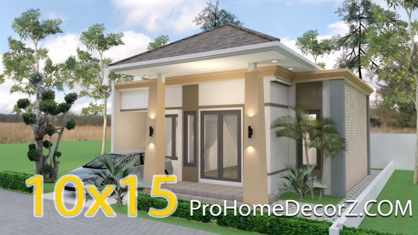One Level House Plans 10x15 Meters 33x49 Feet
