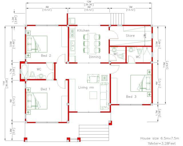 One Story House Plans 12x11 Meter 39x36 Feet 3 Beds floor plan