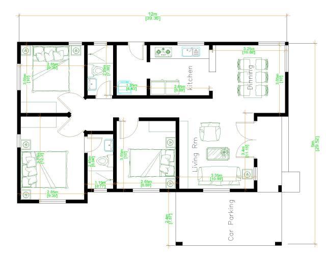 Simple Beautiful House 9x12 Meter 30x40 Feet 3 Beds floor plan