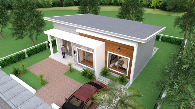 Simple House Design 10x8 Meter 27x34 Feet 3 Beds 2