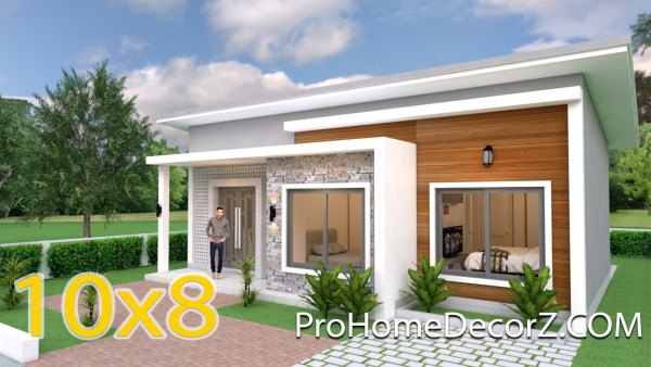 Simple House Design 10x8 Meter 27x34 Feet 3 Beds