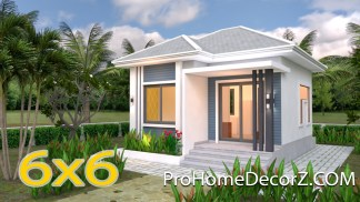 Small Bungalow House 6x6 Meter 20x20 Feet Hip Roof