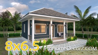 Small Bungalow House 8x6.5 with Hip roof