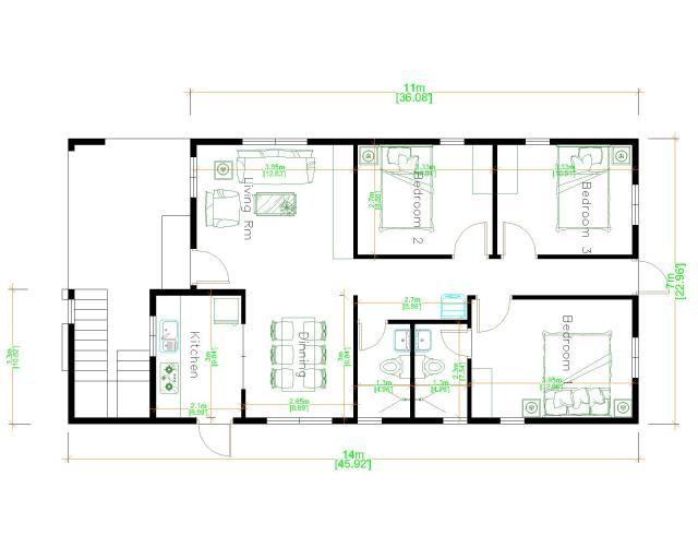 Small Custom Homes 7x14 Meter 23x46 3 Beds Layout floor plan