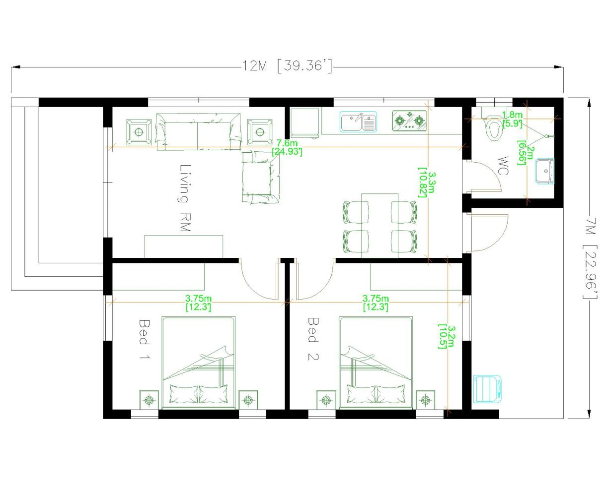 House Design 3d 7x12 Meter 23x40 Feet 2 Bedrooms Shed Roof