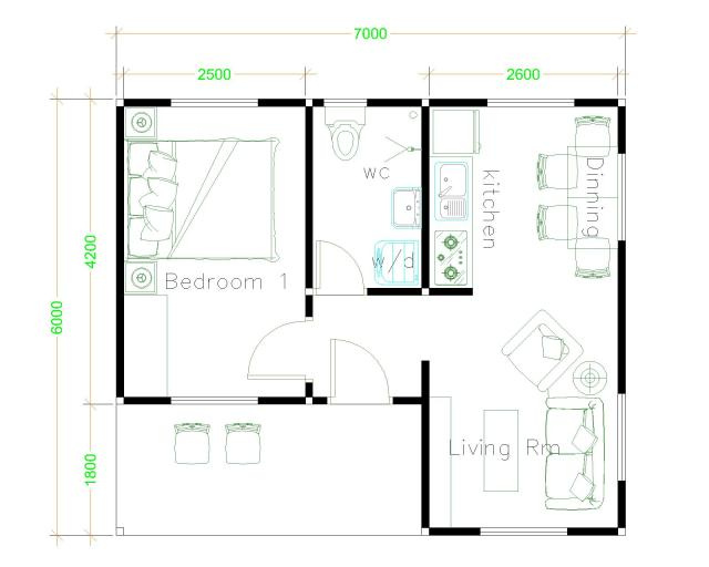 Small Home Designs 7x6 Gable Roof Floor Plans