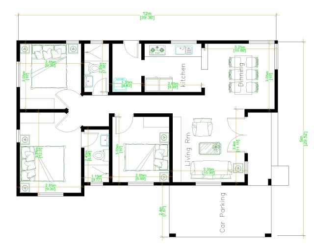 Small House With Garage 9x12 Meter 30x40 Feet 3 Beds floor plan
