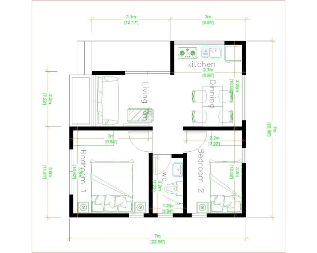 Small Luxury Homes 7x7 Meter 24x24 Feet 2 Beds layout plan