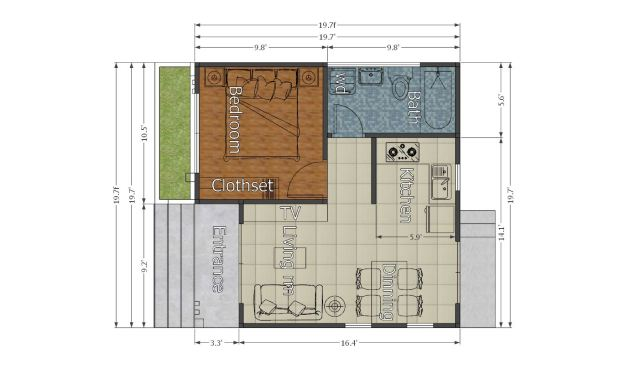 Small Modern House 6x6 Meter 20x20 Feet Flat Roof feet