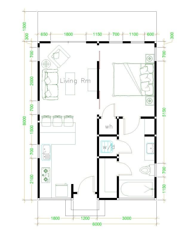 Studio House Floor plan 6x8