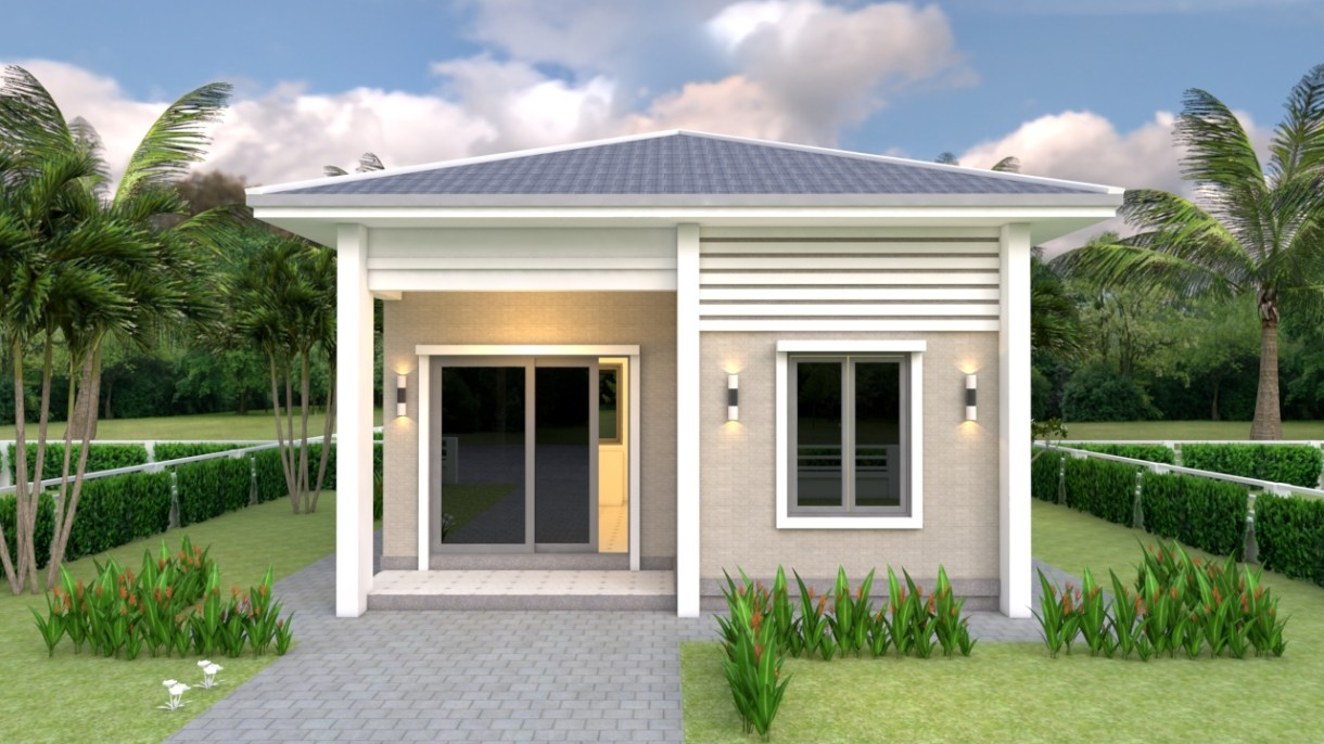 One Bedroom House Plans 21x21 Feet 6.5x6.5m Hip roof