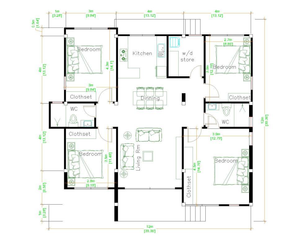 4 Bedroom House Plans 12x12 Meter 39x39 Feet floor plan