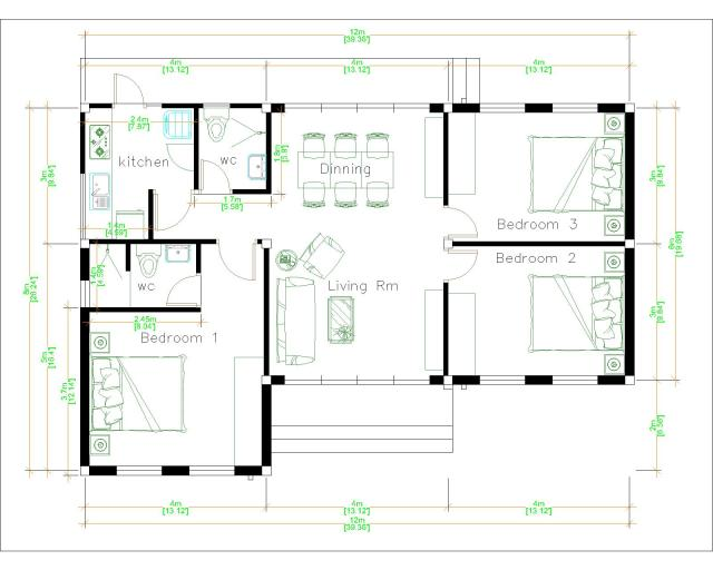 Bungalow House Plans 12x8 Meter 40x27 Feet 3 Beds Layout floor plan