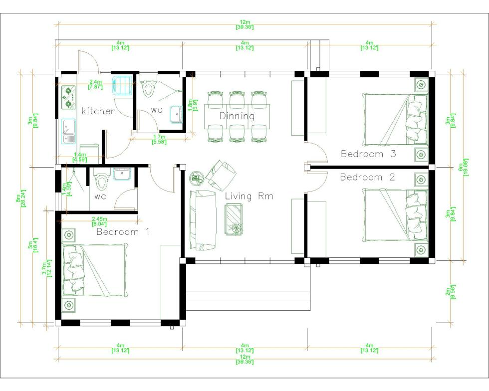 Bungalow House Plans 12x8 Meter 40x27 Feet 3 Beds Layout floor plan