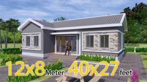 Bungalow House Plans 12x8 Meter 40x27 Feet 3 Beds