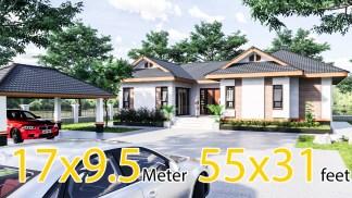 Cool House Plans 16.7x9.5 Meter 55x31 Feet 3 Beds