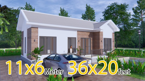 House Design Plans 11x6 Meters 36x20 Feet 3 Bedrooms