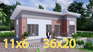 House Plan Drawing 11x6 Meters 36x20 Feet 3 Beds