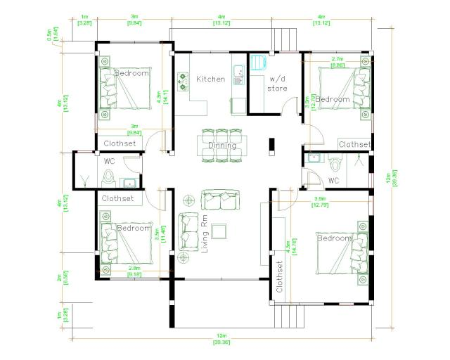 Modern Farmhouse Plans 12x12 Meter 39x39 Feet 4 Beds floor plan