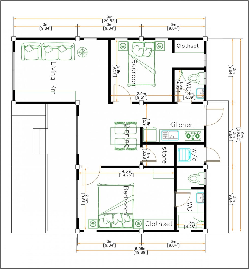Modern Style Homes 9x9 Meters 30x30 Feet 2 Beds